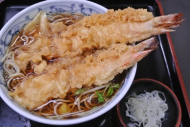 pic Hot Soba topped with Prawn Tempura